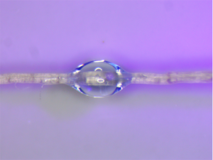 Micro-droplet on fibre